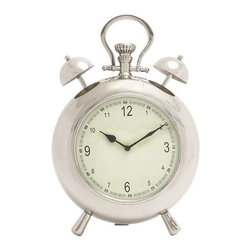 "BZBZ27875 - Vintage Metal Table Clock in Silvery White Finish - Vintage Metal Table Clock in Silvery White Finish. Elegant and stylish in design and appearance, this metal table clock is a perfect combination of form and functionality. It uses 1 AA size battery (not included). The dimensions of the metal wall clock are 11"" x 5"" x 16"". Some assembly may be required."