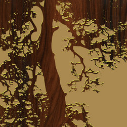"""jefdesigns - Ponderosa Pine - Manzanita, Oregon Print, 20"""" x 20"""" - North by Northwest. This original hand drawing was inspired by the artist's many treks across the trails of the Pacific Northwest. Digitally enhanced with wood grain, it adds lots of texture and visual interest to your modern interiors."""