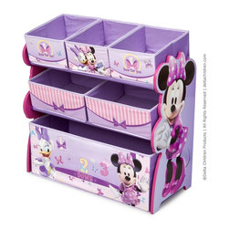 http://www.adarn.com/minnie-mouse-6-bin-multi-bin-organizer-by-delta.html - Featuring all of her favorite Minnie Mouse characters like Minnie and Daisy Duck, an elegant color pattern, and six uniquely sized storage boxes, this organizer makes cleaning up easy and exciting.