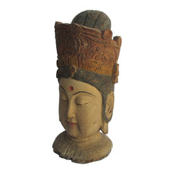 Golden Lotus - Peaceful KwanYin Head Chinese Antique Wooden Carving Statue - This is a Chinese antique wooden KwanYin head statue which is made of solid elm wood.  It is perfect to put at your entrance of hall way.