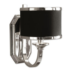 Uttermost - Uttermost Tuxedo Wall Sconce in Silver - Shown in picture: Silver Plated Metal With A Black Hardback Shade. Sleek silver arms and smart black shading make this distinctive family unique. Silver plated metal with a black hardback shade.