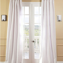 Half Price Drapes - Eggshell Faux Silk Taffeta Single Panel Curtain, 50 X 108 - - Defined by a unique sheen and fine weave, our exclusive faux silk taffeta curtain panels are gorgeous and timeless. They have a crisp smooth finish in brilliant shimmering colors. Color is a medium silver grey.   - Single Panel   - 3 Rod Pocket   - Corner Weighted Hem   - Pole Pocket with Back Tab & Hook Belt Attached. Can be hung using rings. (Not Included)   - Dry clean   - Taffeta 53% Polyester & 47% Nylon   - Lined with a cotton blend material  - 50x108   - Imported   - White Half Price Drapes - PTCH-JTSP120-108