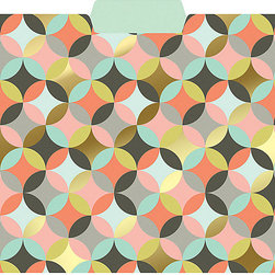 Geometric Circles Gold Foil File Folders, Set of 6 - Keep your office both organized and chic by filing your papers in patterned folders. This geometric circles design is one of my favorites.