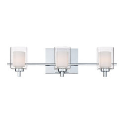 Quoizel - Quoizel QZ-KLT8603C Kolt Bathroom Light - This modern, posh collection features a simplistic design with a sleek polished chrome finish.  The opal etched glass is encased with clear glass for a sophisticated and stunning look.