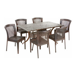 Great Deal Furniture - Florence Outdoor 7pc Dining Set - The Florence circular outdoor cast and wicker set is a perfect addition to add some style to any outdoor living space. This unique set combines a cast aluminum table with versatile PE wicker chairs to create an interesting touch of expression to your backyard or patio.
