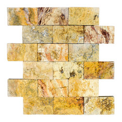 STONE TILE US - Stonetileus 4 pieces (4 Sq.ft) of Mosaic Gold 2x4 Split Face - STONE TILE US - Mosaic Tile - Gold 2x4 Split Face Specifications: Coverage: 1 Sq.ft size: 2x4 - 1 Sq.ft/Sheet Piece per Sheet : 18 pc(s) Tile size: 2x4 Sheet mount:Meshed back Stone tiles have natural variations therefore color may vary between tiles. This tile contains mixture of gold - light brown - dark brown - yellow - copper - red - ivory - and color movement expectation of high variation, The beauty of this natural stone Mosaic comes with the convenience of high quality and easy installation advantage. This tile has Split Face surface, and this makes them ideal for walls, kitchen, bathroom, outdoor, Sheets are curved on all four sides, allowing them to fit together to produce a seamless surface area. Recommended use: Indoor - Outdoor - High traffic - Low traffic - Recommended areas: Gold 2x4 Split Face tile ideal for walls, kitchen, bathroom,Free shipping.. Set of 4 pieces, Covers 4 sq.ft.