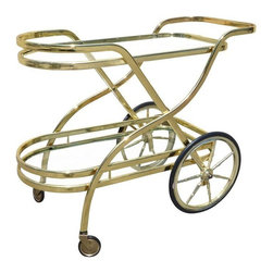 Mid-Century Modern Brass Bar Cart - A perfect brass bar cart for sassy modern living. Stack it up and wheel it around, this baby is a gilded dream!