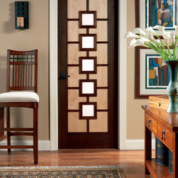 Art Deco door - TruStile AD1050 in mixed wood species with white lami glass