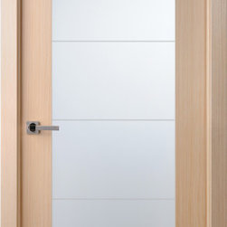 Maximum 209 Interior Door Bleached Oak - The Maximum door series examplifies the Modernist style and elegance of our doors. The Maximum 209 gives a glass option to the Maximum 201. A full frosted glass will allow light to come in while still offering privacy. The Maximum 209 can come in either Wenge or Bleached Oak finish.