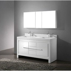 """Madeli - Madeli Vicenza 60"""" Double Bathroom Vanity with Quartzstone Top - Glossy White - Madeli brings together a team with 25 years of combined experience, the newest production technologies, and reliable availability of it's products. Featuring sleek sophisticated lines Madeli vanities are also created with contemporary finishes and materials. Some vanities also feature Blum soft-close hardware. Madeli also includes a Limited 1 Year Warranty on Glass Vessels, Basin, and Counter Tops. Features Base vanity with two soft-close drawers and two soft-close doors Two interior pull-out traysGlossy White finish Polished Chrome handle and leg finish 3""""H Quartzstone Countertops come in White or Soft Grey finish Quartzstone Countertops come with single faucet or 8"""" widespread faucet holes Ceramic undermount sinks with overflow Faucets and drains are not included Backsplash included Matching mirror and medicine cabinet available Limited 1 Year Warranty on Glass Vessels, Basin, and Counter Tops How to handle your counter Spec Sheet Installation Instructions"""