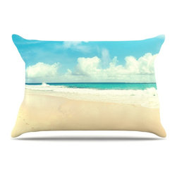 "Kess InHouse - Sylvia Cook ""Beach Time"" Brown Blue Pillow Case, King, 36""x20"" - This pillowcase, is just as bunny soft as the Kess InHouse duvet. It's made of microfiber velvety fleece. This machine washable fleece pillow case is the perfect accent to any duvet. Be your Bed's Curator."