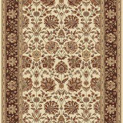 Tayse Rugs - Elegance Beige, Green and Brown Rectangular: 5 Ft. x 7 Ft. Rug - - Classic design that can be used with transitional or traditional d�cor. Wider, contrasting border offers a distinct appeal. Timeless hues of ivory, brown and gold. Made of soft, easy to clean polypropylene. Vacuum and spot clean.  - Square Footage: 35  - Pattern: Floral  - Pile Height: 0.39-Inch Tayse Rugs - 5332  Ivory  5x7