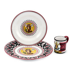 Artistica - Hand Made in Italy - PALIO DI SIENA: CIVETTA (Owl) Place setting pre-pack: Charger+Dinner+Mug - The ''Palio di Siena'' is a tournament as a replica of a medieval horse race which is ran twice year, during the summer season, in the city of Siena, located in the beautiful Tuscany region.