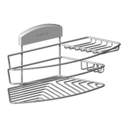 STORit - Storit Combo Basket Stainless Steel - This stylishly designed, stainless steel basket mounts easily to the unique STORit bracket system and can be installed on any surface, at any height - no tools required! The Combo Basket is stable and will not swing, even with uneven loads. This handy bath and shower organizer has a large, deep basket and a separate soap bar holder. It also has hooks to hang shower puffs and razors.