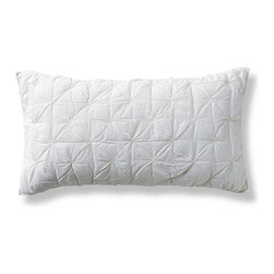 """Frontgate - Whitney Cotton Pintuck Pillow Sham - 100% cotton voile construction. Garment washing bestows an exquisite hand-feel. Pintucked design on top side; reverses to plain. Machine and hand quilted. 150 gram poly batting. Whispery cotton voile stitched with a decorative pintuck results in bedding that is both tailored and demure. Lightweight and versatile, our Whitney Pintuck Bedding adds texture that looks as gorgeous on top of the bed as it does peaking from beneath a duvet. . . . .  . Sham has a 5"""" envelope closure . Machine wash, gentle cycle. In White, Ivory, Sterling and Cascade . Imported."""