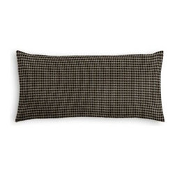 Black & Tan Small Houndstooth Custom Lumbar Pillow - The perfect solo statement on a modern chair or bed, the rectangular lines of the Simple Lumbar Pillow are effortlessly chic. We love it in this black and tan handwoven houndstooth perfect for that masculine menswear look.
