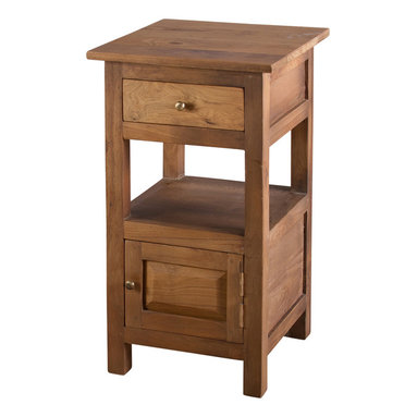 Reclaimed Teak 1-door/ 1-drawer Nightstand - Add stylish storage space to any room with a 1-drawer nightstand handcrafted from teak. The furniture piece offers a single shelf for extra storage space.