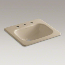 "KOHLER - KOHLER Tahoe(R) drop-in bathroom sink with 8"" widespread faucet holes - The Tahoe sink features a unique squared design, generous size, and durable construction. Crafted from KOHLER enameled cast iron, this sink resists scratching, burning, and staining for years of beauty and reliable performance. This drop-in sink has holes"