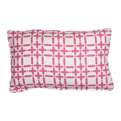 COCOCOZY - COCOCOZY Plaid Solid Pillow in Pink - 100% linen. Down inserts. Piping. Original Designs by Coco of COCOCOZY. Custom made. Manufactured in the U.S.