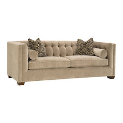 Lazar Industries - Tommy 2-Seater Sofa in Bellisimo Pearl - Tommy 2-Seater Sofa: A transitional beauty, the Tommy features various pillow options along a booth style tufted seating, adorned with welted detail and exceptional tailoring