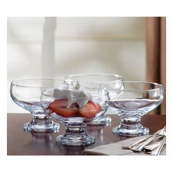 "Home Essentials - Glass Pedestal Dessert Bowls Set Of 4 - Use these lovely footed dessert bowls to serve your favorite desserts, fruit or salads. Should it be ice cream topped with nut, or some fruity shake, our lovely glass dessert pedestals will truly enhance your table setting. * Dimensions: 4.5""D x 3.25""H * Capacity: 8 oz"
