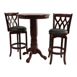 "Boraam - Cathedral Three Piece Pub Set in Light Cherry - Features: -Light cherry finish. -Solid hardwood construction. -Classic pub-style pub table. -Frame features claw feet. -Floor protectors prevent scratches. -Dimensions: 42"" H x 30"" W x 30"" D. 29"" Stool Features: -Light cherry finish. -Solid hardwood construction. -Black faux leather seat with high density foam. -Steel ball bearing. -Swivel for durability. -French leg with tampered bottoms. -Full ring footrest for strength and stability. -Dimensions: 44"" H x 22"" W x 19"" D."