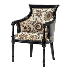 Madison Park - Madison Park Wilshire Spooled Leg Exposed Wood Arm Chair - A classically detailed accent wood chair featuring hand carved details, outside bonded leather and soft, floral upholstered seating with individual nail head trim. Wood Finish: Rubbed Black Material: Hand Carved Birch Hardwood Frame Fabrication: Polyester Blend Filling: High Density Foam