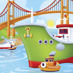 Murals Your Way - Ship And Tug Wall Art - Painted by Paul Dronsfield, the Ship and Tug wall mural from Murals Your Way will add a distinctive touch to any room
