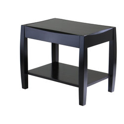 """Winsome Wood - Winsome Wood Cleo End Table with Dark Espresso Finish X-42029 - Unique design and profile to the table top and legs is what make Cleo Collection so special.  One shelf size 14.80"""" x 22.83"""". Perfect for any style decor.  Collection includes End Table, Coffee Table, Accent Table and Console Table.  Constructed of solid and composite wood in Espresso Finish.  Assembly Required"""