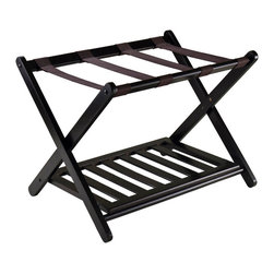 "Winsome Wood - Winsome Wood Reese Luggage Rack w/ Shelf - Organize and pack your luggage on this stylist luggage rack with shoe shelf. Overall open size is 26.54""W x 18.66""D x 20""H. Place luggage on top and your shoe on the bottom shelf to keep your floor clean. Shelf size 22.91""W x 15.75""D. Fold for storage with size 26.54""W x 2.87""D x 26.70""H. Solid wood in Dark Espresso Finish. Luggage Rack (1)"