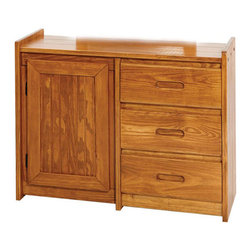 Chelsea Home Furniture - Chelsea Home 3-Drawer Dresser with Storage Door in Honey - Providing home elegance in upholstery products such as recliners, stationary upholstery, leather, and accent furniture including chairs, chaises, and benches is the most important part of Chelsea Home Furniture's operations. Bringing high quality, classic and traditional designs that remain fresh for generations to customers' homes is no burden, but a love for hospitality and home beauty. The majority of Chelsea Home Furniture's products are made in the USA, while all are sought after throughout the industry and will remain a staple in home furnishings.
