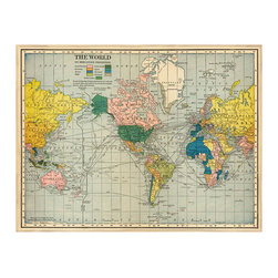 Kathy Kuo Home - Antique Global Bazaar World Map Large - Unframed - See the world in the most literal of senses with this colorful world map. Whether you gaze upon it in wild wonder or use it to plan your next foray into adventure, this custom made map is a learning tool and art all wrapped up into one.
