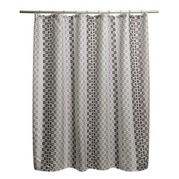 None - Tempo Grey Shower Curtain - Complete any modern bathroom decor with the one of a kind Tempo shower curtain featuring a geometric pattern in a grey finish. This 70 inches wide x 72 inches long curtain is machine washable for easy care and repeated use.