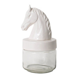 imm Living - imm Living Horse Head Jar - Saddle up and show off your favorite collection with Imm Living's Horse Head Jar. Made from glass and ceramic, it features the bust of a noble steed in pure white. Store objets to office supplies, standing alone or grouped as an eclectic display.Glass jar comes with ceramic lidShips in 1-2 weeks