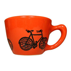 CircaCeramics - 12oz Cup Dusty Road Bike, Clementine - All of our ware is handmade completely from scratch, so you are getting a lovely fresh piece!