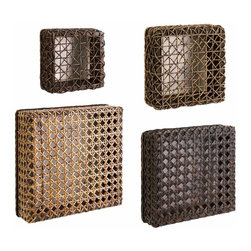 IMAX Worldwide Home - Addel Woven Wall Cubes - Set of 4 cubes varied in size.  ready to arrange creatively on your walls.  Each cube featuring a complimentary woven design. Shelves/Hooks. 3.5-3.75-4-4.25 in. H x 8.25-14.25 in. W x 8.25-14.25 in. D. 80% Poplar Wood, 10% Rattan, 5% Seagrass, 5% Paper R