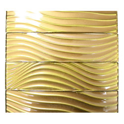 "Metallic Sidewinder 3x12 Glass Tile - Metallic Sidewinder 3"" x 12""Glass Tile This striking blend of golden bronze and metallic can make any room aesthetically appealing. The wavy pattern brings a distinctive design and will add a nice touch for a contemporary and modern room. Chip Size: 3"" x 12"" Color: Golden Bronze Material: Glass Finish: Metallic Wavy Sold by the Square Foot - 4 pieces per square foot Thickness: 8mm Please note each lot will vary from the next."
