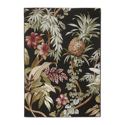 """Frontgate - Tommy Bahama Island Pineapple Outdoor Area Rug - Frontgate-exclusive design, licensed by Tommy Bahama. Choose Beige or Black background color. For indoor or outdoor use. 100% polypropylene resists moisture and mildew. .16"""" thick. Imbue your outdoor space with romantic, tropical imagery befitting an island resort. Woven from 100% polypropylene fibers, our Tommy Bahama Island Pineapple Rug celebrates the beautiful diversity of island botanicals, with vining foliage, vibrant blooms and pineapples. The weather-resistant construction provides relief from hot summer surfaces and allows for easy clean-up with a garden hose.  .  .  .  .  . Rug pad recommended outdoors to hold rug in place and help with water drainage (sold separately) . Easy to clean; rinse with hose and air dry in the sun; use mild soap for difficult stains . Imported."""