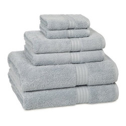 Kassatex - 100% Egyptian Bath Towels | Smoke Blue | S/6, Tub Mat - 100% Egyptian Bath Towels- Smoke Blue