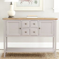 Safavieh - Safavieh Charlotte Grey Sideboard - Expand your storage options in a busy kitchen with this simple antique sideboard. A wide bottom shelf is accompanied by numerous drawers and cabinets to hold dishes or appliances. The warm gray color will match a wide variety of decors.
