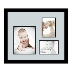 ArtToFrames - ArtToFrames Collage Photo Frame  with 1 - 8x10 and 2 - 5x7 Openings - This classic Satin Black, 1.25 inch thick collage frame, comes equipped with an arrangement for 1 - 8x10 and 2 - 5x7 pictures of your choice. This collage is part of an array collage frame group and boasts a broad line of premium quality frames at a low-cost you can smile about! Homespun and created to showcase your pictures making sure you 1 - 8x10 and 2 - 5x7 art will fit right in. Bordered in a bold Satin Black, sleek frame and accompanied by a contemporary Baby Blue mat, the collage arrangement absolutely showcases your photographs, and the greatest memories in an entirely interesting and creative way. This collage frame comes protected in Styrene, ready with appropriate hardware and can be presented in the blink of an eye. These premium quality and authentic wood-based collage frames differ in style and size; all in contemporary and modern design. Mats are available in a myriad of color tones, spaces, and shapes. It's time to tell your story! Preserving your holding onto your memories in an original and brilliant fresh way has never been easier.