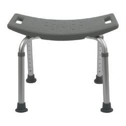 MEDLINE - Bath Bench No Back Gray - Gray, high-density polyethylene seat, angled legs distribute weight over a larger area. Suction-cup tips on all four legs, durable aluminum frame, seat height adjustments in 1-inch increments. Without back.