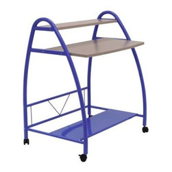 Calico Designs - Purple Arc Table - Powder Coated Steel for Durability. Casters for Mobility with 2 Locking. Overall Dimensions: 31.5 in. W x 22 in. D x 37 in. H. Main Work Surface: 29.75 in. W x 7.5 in. D. Top Shelf in. 29.75 in. W x 7.5 in. D. Bottom Metal Shelf: 31.5 in. W x 10.25 in. D