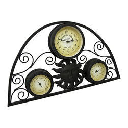 Zeckos - Celestial Sun Metal Clock with Thermometer and Hygrometer Wall Hanging - Add a celestial accent to your wall and your home with this decorative metal wall clock Not only will this wall hanging keep time, it has a thermometer and a hygrometer for temperature and humidity readings, too It's made from metal with a matte black enamel finish, and easily mounts to the wall using the attached hanger on the back. It's great for out on the lanai, an enclosed porch or anywhere inside your home with its scrolling design and celestial windblown sun. At 12.5 inches (32 cm) high, 22.25 inches (56 cm) wide and 1.5 inches (4 cm) deep, it's great for an exterior wall not exposed to weather, too The quartz movement requires just one AA battery (not included). It's a fabulous housewarming gift sure to be admired, or a beautiful highlight just for you to enjoy