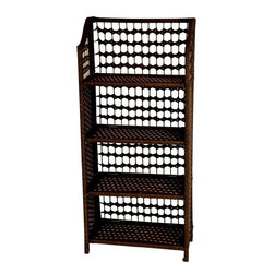"Oriental Furniture - 43"" Natural Fiber Shelving Unit - Mocha - This practical shelf unit is perfect for photographs, art, and collections. Sized for bed rooms, dorm rooms or bathrooms. Crafted from light wood frames with natural spun plant fiber cord, interwoven with 1/4"" dowel. An extra sturdy, rattan style design. The color is rich and compelling. The best modern American furnishings and accessories are sturdy, portable, practical, and beautiful. The shelves unhook from the side panels to collapse for easy shipping and storage."