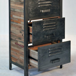"Industrial / Locker Room Style 3 Drawer, 2 Cabinet - A 3 drawer ""locker room style"" cabinet made from salvaged / reclaimed boat wood.  This furniture has a rustic / modern / industrial look and is very well made."