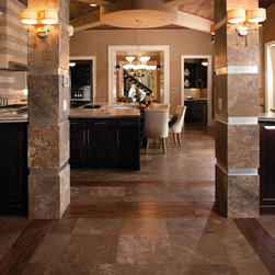 Living Space Floor & Columns - Daltile Travertine in Cafe Au Lait on the floor and columns.