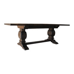 """Rustic Trestle Table Espresso Finish - Trestle Table. Hand made of rustic alder, distressed, with an Antique Espress finish. Dimensions are 42"""" by 90"""" by 30"""" high."""