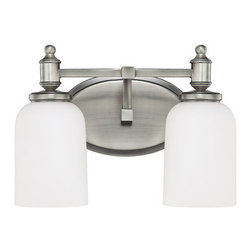 Capital Lighting - Capital Lighting 8442-102 Covington 2 Light Vanity Fixture - Capital Lighting 8442-102 Covington 2 Light Vanity FixtureLiven up any bathroom or other area with this stylish vanity wall sconce featuring dome shaped Soft White glass shades and finely finished hardware. This damp rated fixture will complement any d�cor in any room.Capital Lighting 8442-102 Features: