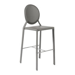 Euro Style - Isabella-B Bar Stool in Gray - Set of 2 - Set of 2. Leather seat, back and legs on steel frame. Chromed steel foot rest. Minor assembly (footrest). Seat height 30 in.. Durable leather seat. Easy to clean, smooth leather  . Color/Finish: Gray Leather. 19.75 in. L x 20 in. W x 45.75 in. HLeather.  Leather.  And more leather.  Theres nothing like the look and feel of the real thing and the Isabella seat, back, and legs are all dressed up in leather.  You just cant touch this design anywhere.  Oh, go ahead feels great.